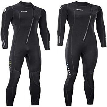 ZCCO - Traje de neopreno ultra elástico de 3 mm con cremallera frontal, traje de buceo completo, una pieza para hombres y mujeres, esnórquel, buceo, natación, surf (tamaño grande)
