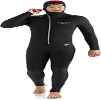 Cressi Diver Man Monopiece Wetsuit Traje de Buceo de Una Pieza, 7 mm, Hombres, Negro/Rojo, L/4